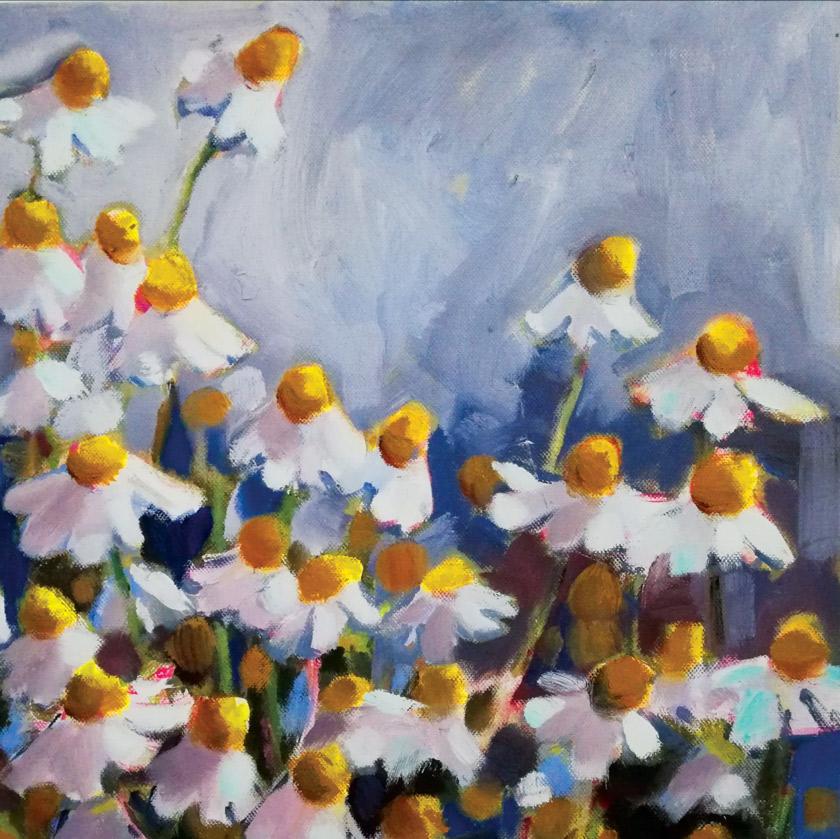 Marleen Kleiberg painting of white daisies