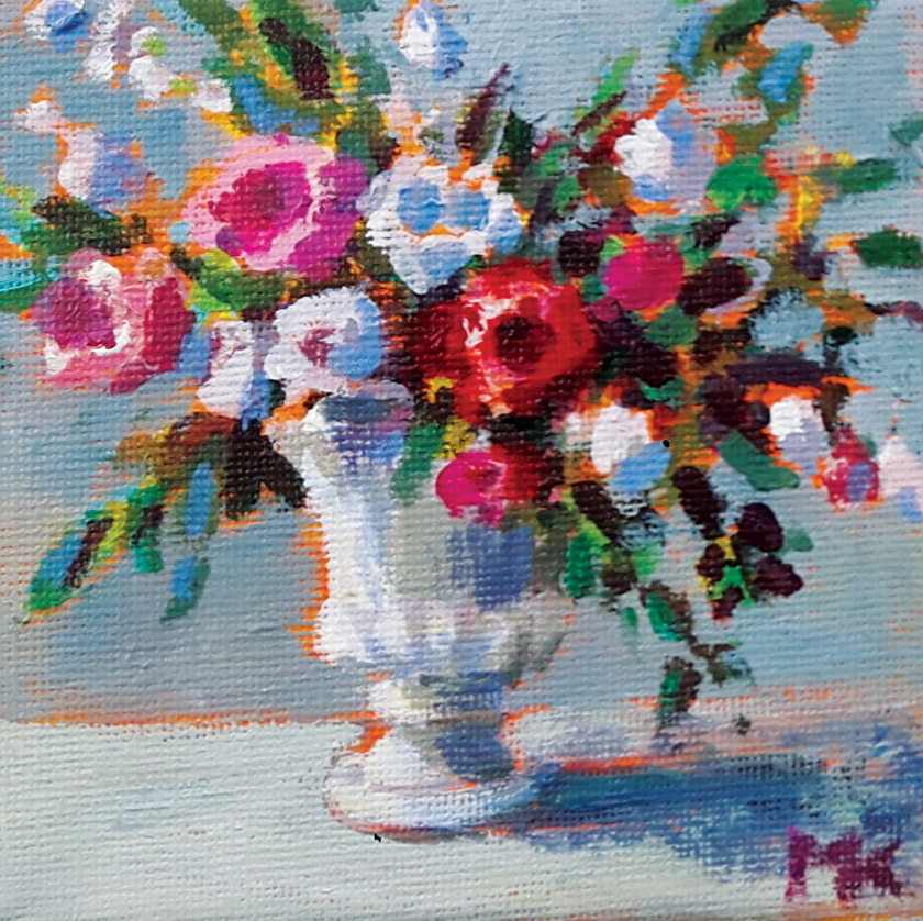 Marleen Kleiberg painting of a bouquet of pink, red and white flowers in an urn.