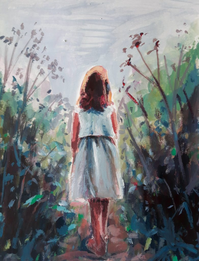 Marleen Kleiberg painting of a young girl in a white blouse and skirt walking through tall grasses