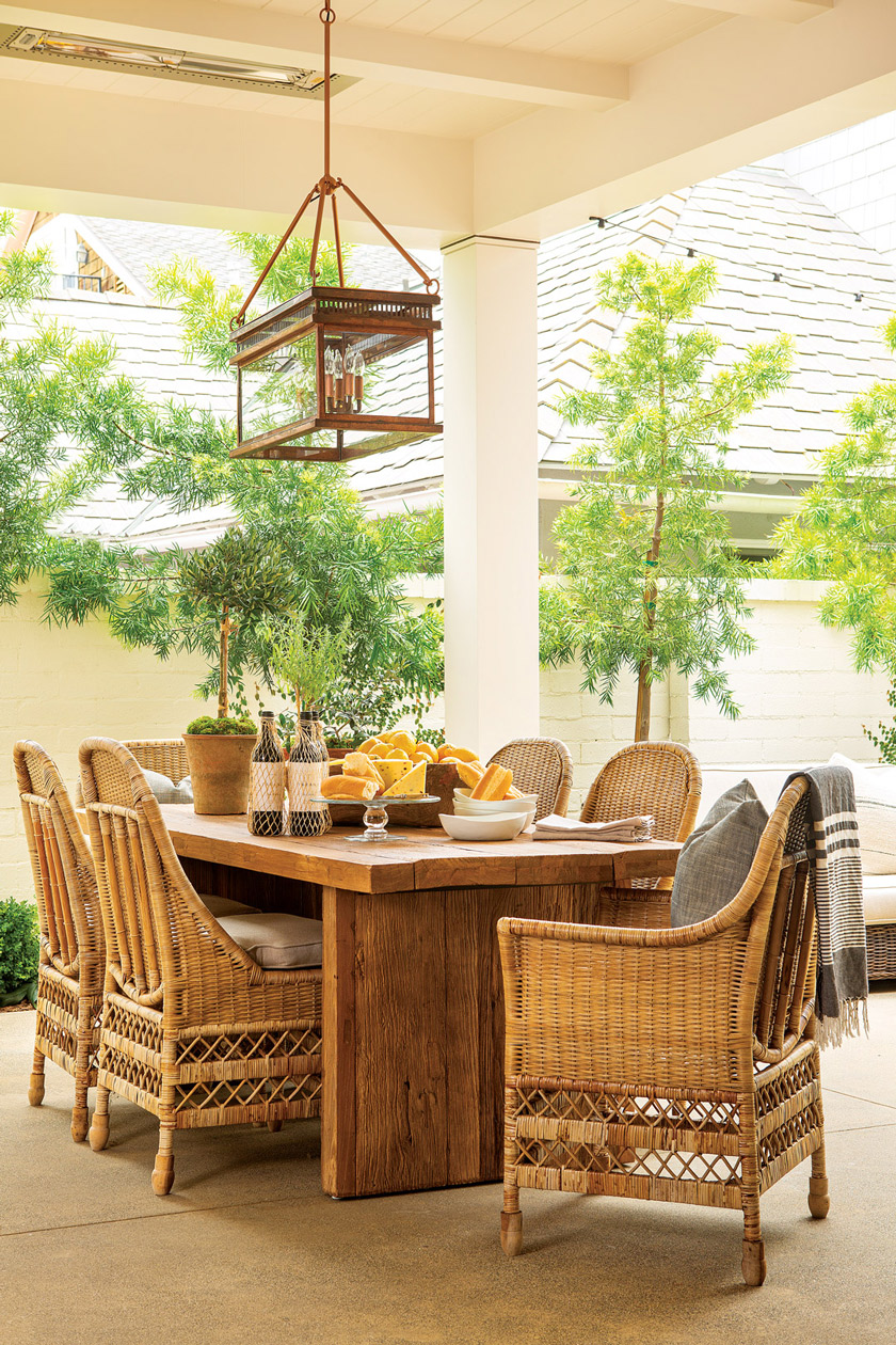 tranquil outdoor dining area of a beach cottage