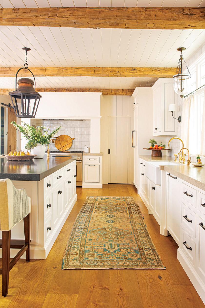 vintage Turkish rug in kitchen of the beach cottage