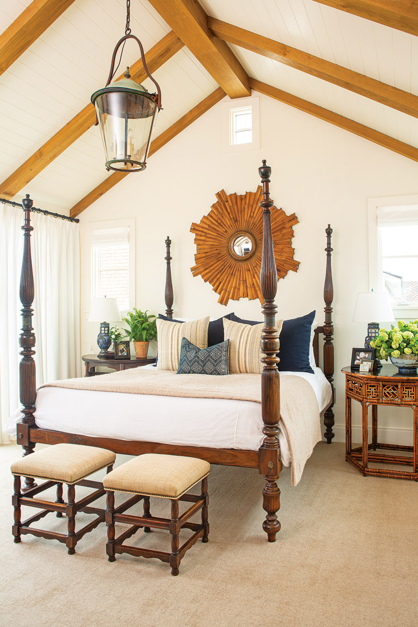 the master bedroom of beach cottage