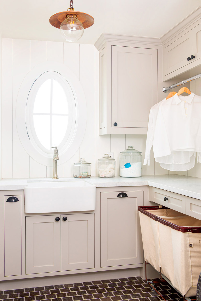 second-floor laundry room of beach cottage