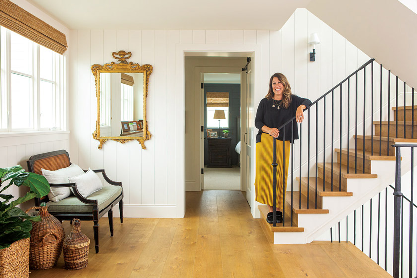The floors throughout the beach cottage home are European white oak