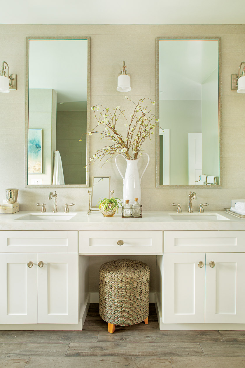coastal farmhouse style master bathroom with two sink vanity and two large mirrors above sinks