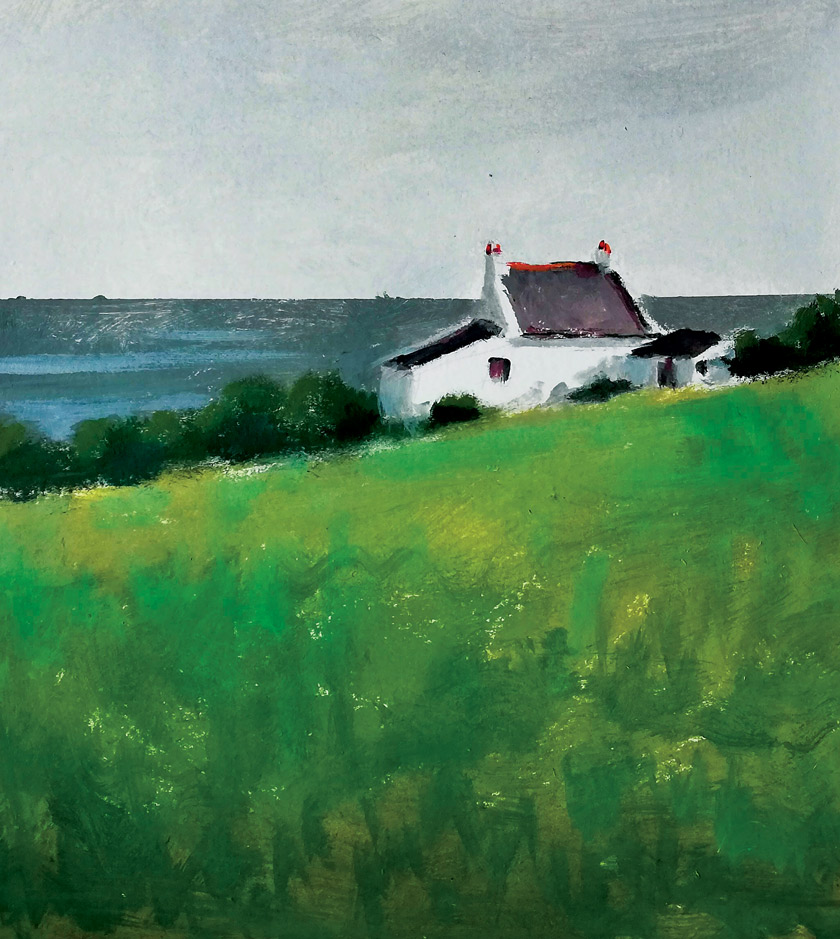 Marleen Kleiberg painting of a small white cottage in a field of green grass and the ocean in the background